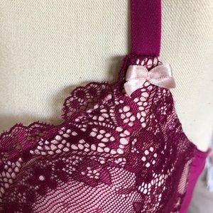 Betsey Johnson Intimates & Sleepwear - EUC Betsey Johnson wine lace underwire bra 34D